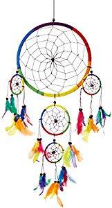 CaughtDreams Atrapasueños ~ tradicional arco iris color múltiple con plumas 22cm de diámetro y 60cm de largo Opiniones, Precioso y perfecto