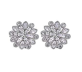 Hosaire Mujeres Moda de Las Niñas Cute Cristal de 4 Hojas de Hierba de Plata Brillante Stud Pendientes Regalo Opiniones, .otros a la basura