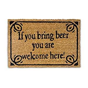 """Relaxdays – Felpudo """"If You Bring Beer You Are Welcome Here"""" para la Entrada de su hogar Hecho de Fibras de Coco y PVC con Medidas 40 x 60 cm Antideslizante Elemento Decorativo Opiniones, Fiel a la imagen y descripción"""