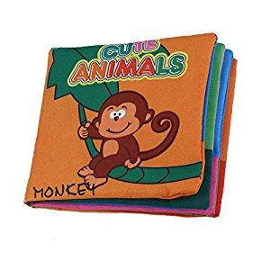 SODIAL(R) Tejido suave desarrollo del bebe Inteligencia Ninos chillona Imagen Cloth Book – Animal Kingdom Opiniones, Bien para el precio que tiene